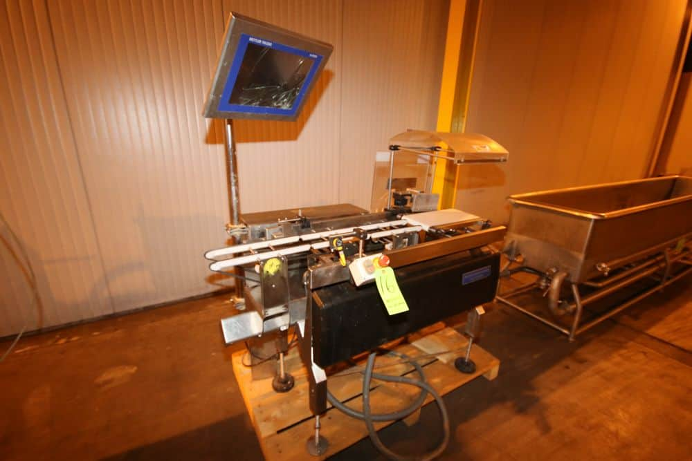 "Mettler Toledo Hi-Speed Check Weigher, M/N XS, S/N 12026721, Aprox. 57"" L x 8"" W Belt, 120 Volts, 1 Phase, with Reject Arm (NOTE: Cracked Touchscreen & Missing Belt--See Photographs) (LOCATED IN BROCKPORT, PA)"