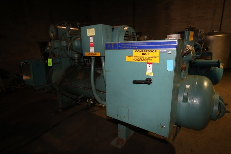 "2000 Frick hp 350 hp Screw Ammonia Compressor, Frame Model RWF 134 H, SN F0057UFMNLIGA03, Screw Head Model SGC1918, SN 0048, with Ram 3570 RPM Motor, 460V 3 Phase, with Quantum HD Touch Pad Controller, (Aprox. Overall Dim 15 ft L x 80"" W x 90"" H), Unit #C03 (Located at the M Davis Group Auction Showroom in Pittsburgh, PA) (Rigging, Handling & Site Management Fee $1,250.00)"