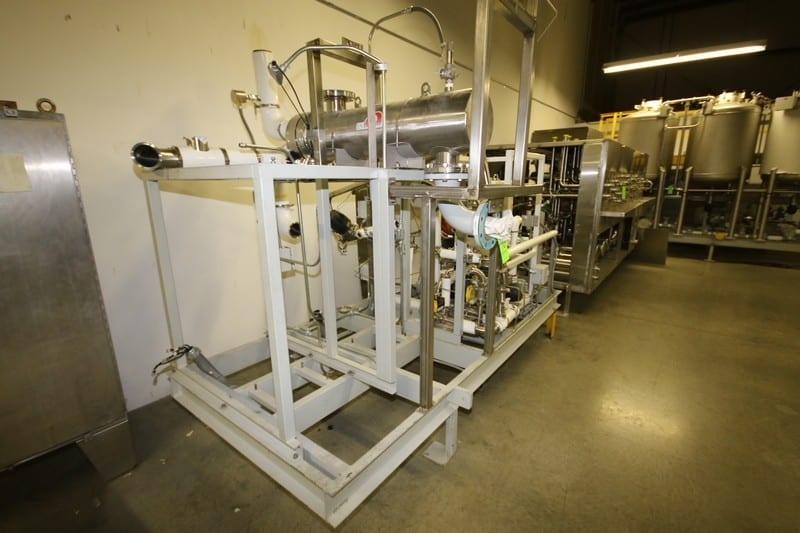 "2013 Electropure EDI Deionization Water Purifier Skid, with EXL Plate Press Heat Exchanger, M/N EXL-710-HTS, S/N 1710012, with NEW Enerquip S/S Shell & Tube Heat Exchanger, with 4"" Cooling Flanges & 2"" Process Fluid Sanitary Flanges, Shell Side/Tube Side 150 PSIG @ 375 Degrees/ -20 F @ 150 PSIG, Overall Skid Dims.: Aprox. 10' L x 5' W (LOCATED IN WINSTON-SALEM, N.C.)"