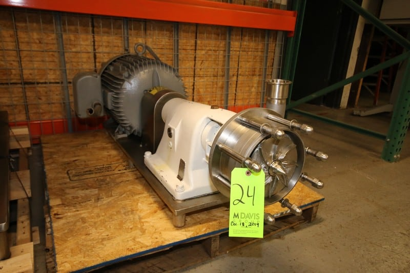"Fristam Multi Stage High Pressure S/S Centrifugal Pump, Model FM332-175, SN 68012, with 2.5"" Clamp Type S/S, Baldor Aprox. 30 hp Motor, Mounted on S/S Frame (Located in Pittsburgh, PA @ MDG Auction Showroom--$100.00 RIG FEE)"