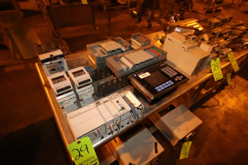 Lot of Assorted Allen Bradley Electronics, Includes Allen Bradley PanelView 600, Allen Bradley 6-Slot Ethernet/IP PLC, Allen Bradley 9-Slot PLC Rack, Allen Bradley 10-Slot PLC Rack (NOTE: Missing Some Inputs--See Photographs), Allen Bradley PowerFlex70, with (2) Allen Bradley VFDs, M/N 336 (LOCATED IN BROCKPORT, PA)