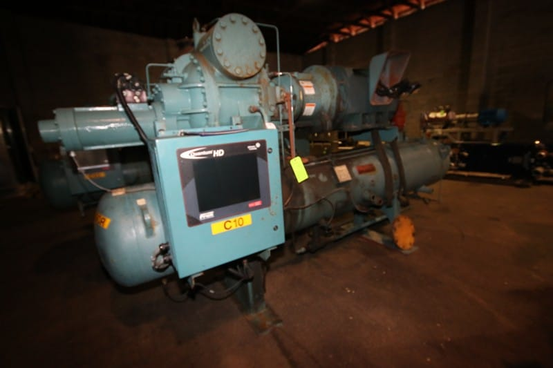 "1999 Frick hp 350 hp Screw Ammonia Compressor, Frame Model RWF134H, SN FLS0036UFMCLHAA03, Screw Head Model SGC1918, SN 0029SGC, with Ram 3570 RPM Motor, 460V 3 Phase, with Quantum HD Touch Pad Controller, (Aprox. Overall Dim 15 ft L x 80"" W x 90"" H), Unit #C10 (Located at the M Davis Group Auction Showroom in Pittsburgh, PA) (Rigging, Handling & Site Management Fee $1,250.00)"