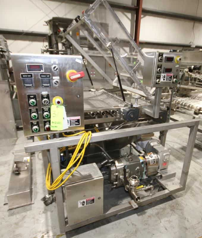 "Inline Donut Half Icer/Icing System with S/S Conveyor with Hopper, Includes 44"" W x 66"" L x 38"" H Conveyor with Wire Mesh Belt with 1/2 hp / 1740 rpm Drive Motor, 230 / 460V 3 Phase, Hinged Plexiglass Top Cover, Includes Fedco Bottom Portable S/S Hopper, Model 1B-44-00, SN 202149, with 49"" L x 49"" L Hopper with Mounted Waukesha Positive Displacement Pump, Model 045U2, with 5 hp / 1750 rpm, 230 / 480V 3 Phase, with Controls (Located Pittsburgh, PA)"