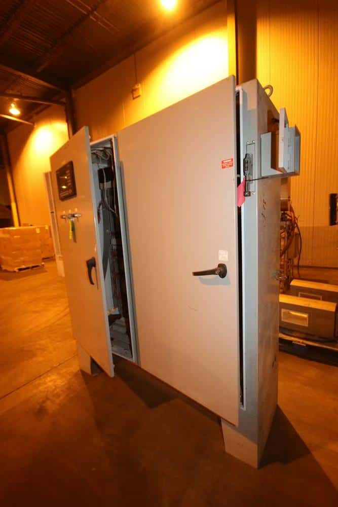 "Double Door Control Cabinet, Includes (4) Allen Bradley PowerFlex 70 VFDs, Allen Bradley 13-Slot PLC Rack, SLC 5/04 CPU, with Allen Bradley Paniel View 900 Touchscreen Display, Overall Dims.: Aprox. 92"" L x 27"" W x 87"" H (LOCATED IN BROCKPORT, PA)"