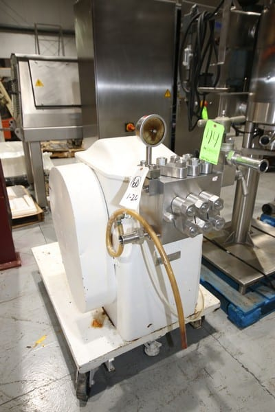 "Gaulin 3-Piston Homogenizer, M/N 60MS5TBS, S/N 8818677, with 1-1/2"" Clamp Type Inlet/Outlet, Mounted On Portable Frame (LOCATED @ M. DAVIS GROUP AUCTION SHOWROOM--PITTSBURGH, PA)"