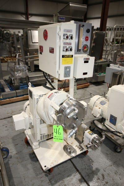 "Oakes Machine Corp. Continueous Mixer, M/N 8MB59, S/N 319, with 5 hp Drive, Includes Waukesha 0.75 hp Positive Displacement Pump, Size 10, S/N D0 74775 55, with 2"" Clamp Type Inlet/Outlet, Mounted on S/S Portable Frame (LOCATED @ M. DAVIS GROUP AUCTION SHOWROOM--PITTSBURGH, PA)"