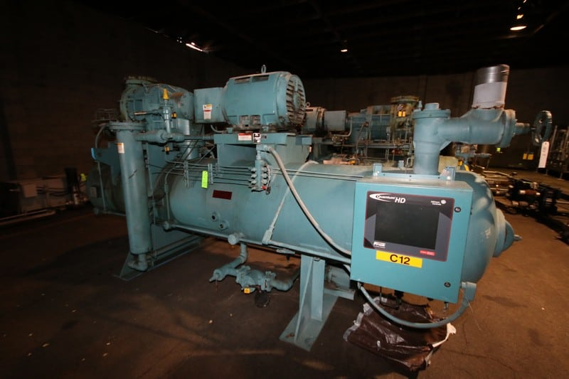 "1998 Frick hp 250 hp Screw Ammonia Compressor, Frame Model RWBII316B, SN S0416TFMFL0AA03, Screw Head Model / SN TDSH283S1931G, with Ram 3570 RPM Motor, 230/460V 3 Phase, with Quantum HD Touch Pad Controller, (Aprox. Overall Dim 16'4"" L x 6 ft W x 94"" H), Unit #C12 (Located at the M Davis Group Auction Showroom in Pittsburgh, PA) (Rigging, Handling & Site Management Fee $1,250.00)"