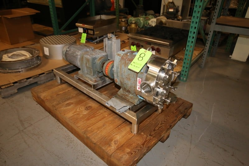 "Waukesha Positive Displacement Pump, with 3"" Clamp Type S/S Head, Includes Rotors, SEW 5 hp Drive Motor, 330/575 V 3 Phase, Mounted on S/S Frame (Located in Pittsburgh, PA @ MDG Auction Showroom--$100.00 RIG FEE)"
