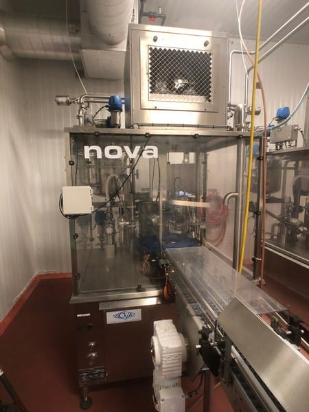 "2014 Nova (Serac Group) 12-Pocket Rotary Drinkable Yogurt Filler, Model R 16 M 95 VERRE, S/N R 14 MO 27.0, Includes (2) Foil Sealing Stations, Previously Running Glass Stanpac 5 Oz Round Bottles, Bottle Dimensions: 3"" Tall x 3"" Wide, 3"" Diameter Foil Seal, 480 V"