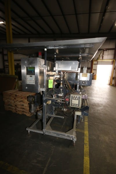 """ITW Minigrip/Zip-O-Pak Top Zip VFFS, with Electro-Pneumatic Conrol Unit, with 33"""" L Rollers, with Control Box Including GE Franc 3-Slot PLC, M/N Series 90-30 (NOTE: Missing Some Components-See Photographs)"""