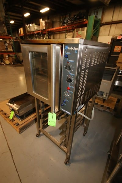 Moffat Turbo Fan 32 Confection Oven, Model E32MS, SN 297204, 208V, Mounted on S/S Tray Stand, with (6) S/S Pan Insertion Stations in Frame (Rigging, Handling & Site Management Fee $200.00)(Located at the MDG Auction Showroom in Pittsburgh, PA)
