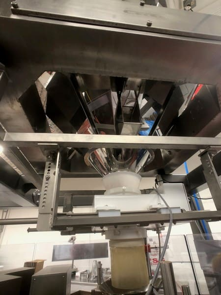 2016-2018 Complete Automatic Rotary Premade Pouch Packaging Line Previously Running Stand-Up Gusseted Bags @ 45 Bags Per Minute. 2016 Gantan 14-Bucket Rotary Scale, Model GT – 14DPB, S/N 16061498C (Installed New in 2018). 2017 Viking / Solpac Premade Pouch Packager, Model 8S-235, S/N PO-21864, 480 V. 2013 Dura-Pack Bucket Elevating Conveyor, Model CB, S/N 3145.  Syntron Magnetic Vibratory Feeder, Model BF-2-A, S/N GPC 159839. Phantom Fortress Drop Through Metal Detector, Model Vertex. Domino A320i Ink Jet Printer, S/N AST0000158.  S/S Rotary Accumulation Table. Loveshaw Case Tape Sealer, Model SP304/60, S/N 2611069304P/60. Domino Ink Jet Box Date Coder, Model AGP220A, S/N AGP000028971.  2018 Great Lakes Air PSA Nitrogen Generator, Package Number GN2-350C12-XP1, Model Number GN2-350C12-116, Capacity: 903 SCFH, Purity:  99.5% N2. Great Lakes Air Refrigerated Air Dryer, Model GRFN-40A-116. Call M. Davis Group at 412-521-5751 for more info!