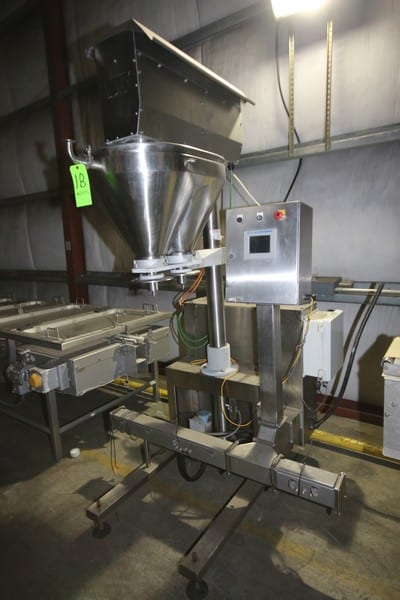 2012 AMS Filling Systems Automatic Dual Auger Filler, S/N STA-400322E-1, with Dual S/S Funnels, with Allen Bradley PanelView Plus 600 Touchpad Display, (2) Allen Bradley Ultra 3000, with (3) PowerFlex 4 VFDs