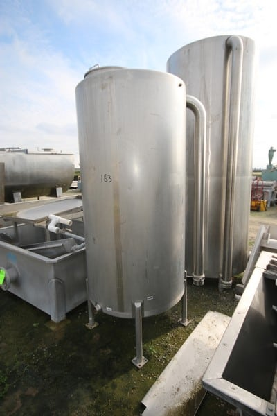 """50 Gal. S/S Single Wall Vertical Tank, Dims.: Aprox. 40"""" Dia. X 72"""" L with S/S Legs & Slope Bottom"""