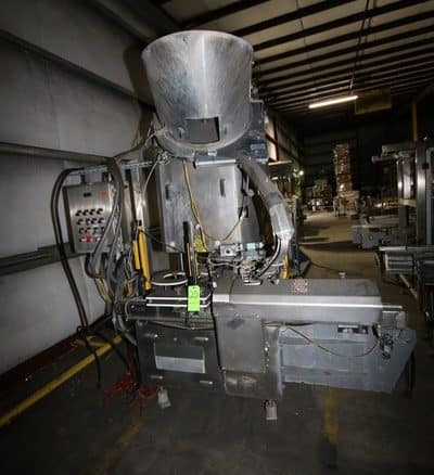 """Fowler/Zalkin S/S Capper, M/N CA3 432 GR, S/N 23017, with Screw Discharge Conveyor, with Fowler S/S Cap Feed Hopper, Includes CSS S/S Timing Screw Conveyor, with SEW Drive, Aprox. 174"""" L, Includes Control Panel with Allen Bradley 7-Slot PLC, with (2) Allen Bradley PowerFlex 40s, Includes Wooden Crate of Spare Plastic Conveyor Belt"""