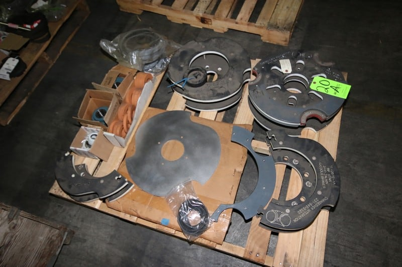 (2) Pallets of Fowler/Zalkin S/S Capper Change Parts, Inlcudes 3HD 4 oz. Rotary Change Over 11-0572-1A Inf. Star, (7) NEW Boxes of Bearings, and NEW Belts