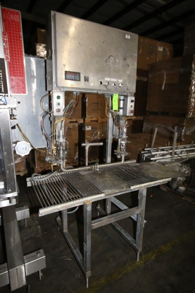 """Scholle Dual Head Auto Fill Bag-In-Box Filler, S/N 17-022, with Aprox. 70"""" L x 24"""" W Filler Table with Roller Discharge"""