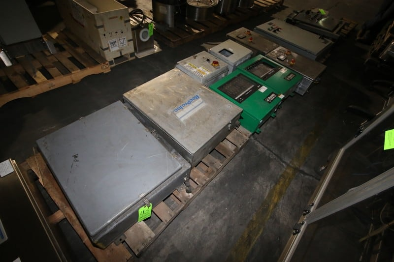 Assortment of S/S & Other Control Panels, Electronics Includes Fuses, (2) NH3 Panels, (2) Allen Bradley PanelView C300 Digitial Read Outs, (2) PowerFlex C300 Digital Read Outs, (2) PowerFlex 4M, (2) Allen Bradley MicroLogix 1000, (3) Automation Direct G52 VFDs (Note: (12) Panels)