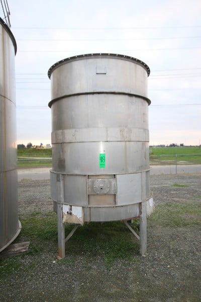 """Aprox. 1,500 Gal. Vertical S/S Tank, S/N T316L, with Internal Heating Coils, Tank Dims.: Aprox. 96"""" Tall x 70 Dia., Mounted on S/S Legs"""