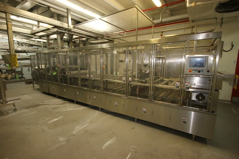 Modern 8-Wide Cup Filler, M/N SL1X8, S/N MP805, 230/460 Volts, 3 Phase, with Allen Bradley 11-Slot Logix 5561 PLC, with Allen Bradley PowerFlex 40, with Cup Loader, S/S Scale Funnel Filling Area, with Heat Seal Station, with Allen Bradley PanelView Plus 1000 Touchscreen Display, Includes S/S Cart with (2) 8-Wide S/S Filling Funnels, and (1) Additional S/S Funnel