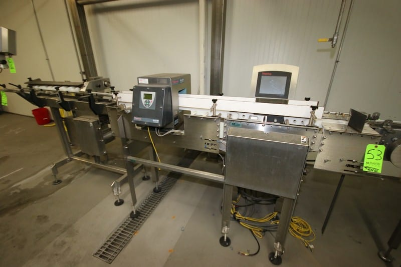 """2011 Thermo Scientific Inline S/S Check Weigher & Metal Detector Station, Check Weigher: Type VERSA-812OC, S/N 11050181, 120 VAC, 50/60 Hz, 120 PSI Max, Metal Detector: M/N APEX100, S/N 11043415A, with Aprox. 5-3/4"""" W x 6-3/4"""" H x 11-1/4"""" Deep, with S/S Section of Orientation Conveyor"""