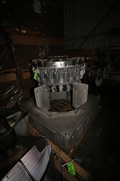 Ishida 20-Station Rotary Filling Scale, M/N CCW-D2-220B-4M/30-WP, S/N 27462, Mounted on S/S Frame, Includes S/S Chutes, Funnels, and S/S Buckets on Pallets & In Cardboard Gaylord Box, Includes S/S Parts Cart