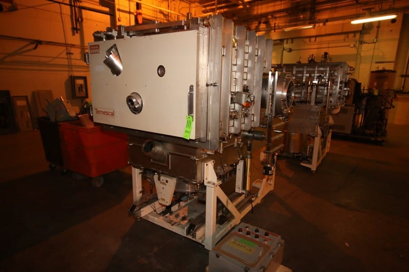 Edwards Temescal S/S Evaporator, M/N FC-4800, with Associated Piping & Valving, with Cryo-Torr 500 S/S High Vacuum Pump, Includes (1) Control Panel on Pallet, (2) Bins of Parts, (1) Pallet of Parts, 480 Volts, 3 Phase, S/N 109, Product #: 10-0109-000 (LOCATED IN WAREHOUSE AREA)