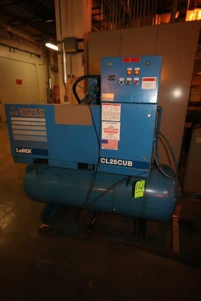 LeROI CompAir 25 hp Air Compressor, M/N CL25CUB, 230 Volts, 3 Phase, with Horizontal Air Receiver (LOCATED IN WAREHOUSE AREA)