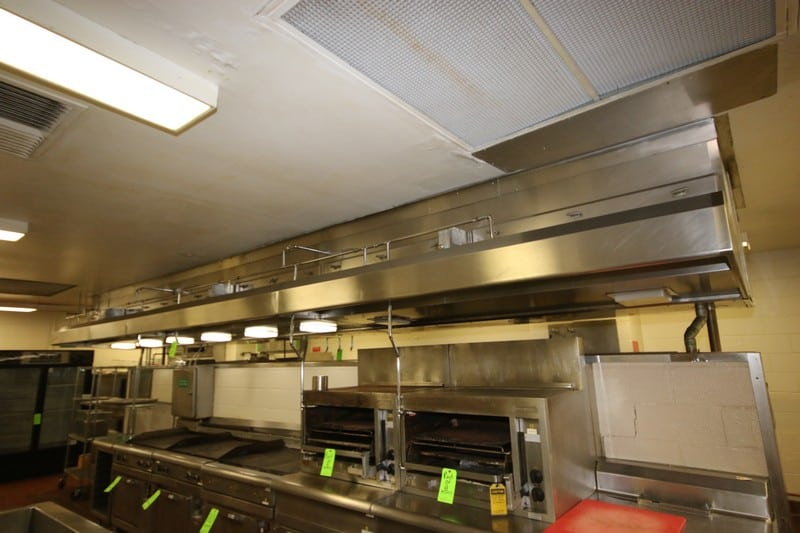 S/S Hood System Above Cooking Area, Includes Emergency Automatic Fire System, with (5) Ansul S/S Panels, with Gaylord Wash Down System, M/N GPC-6000-D-S2-LD-1.25, S/N GI-1008-0059742, with S/S Control Panel, Hood System Dims.: Aprox. 26' L x 9' W (LOCATED IN KITCHEN AREA)