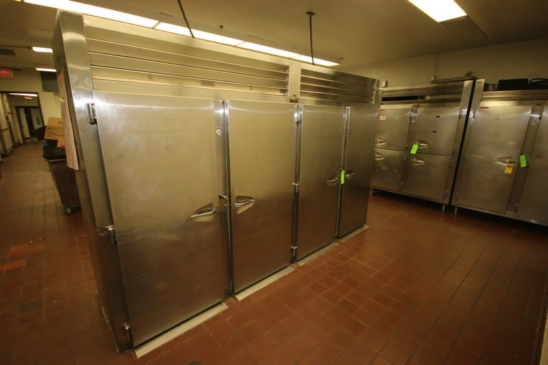 """Traulsen 4-Door S/S Refrigeration Unit, with (2) Refrigerated Chambers, with S/S Doors on Both Side of Units, Overall Dims.: Aprox. 132"""" L x 40"""" W x 82"""" H (LOCATED IN KITCHEN AREA)"""