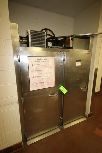 """Traulsen 2-Door S/S Refrigeration Unit, with (1) S/S Rack, S/S Doors on Both Side of Unit, Overall Dims.: Aprox. 45"""" L x 67"""" W x 82"""" H, with Top Mounted Compressor (LOCATED IN KITCHEN AREA)"""
