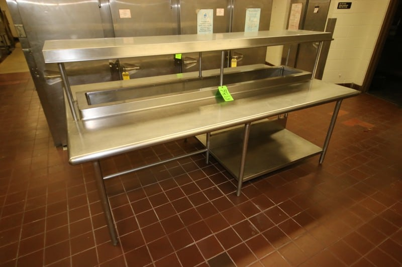 "S/S Double Counter Unit, with S/S Top Shelf, with (2) S/S Bottom Shelves, Overall Dims.: Aprox. 95"" L x 55"" W x 51-1/2"" H (LOCATED IN KITCHEN AREA)"