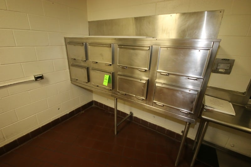 """8-Compartment S/S Kitchen to Café Warming Station, with S/S Table, Overall Dims.: Aprox. 67"""" L x 20-1/2"""" W x 34"""" H (LOCATED IN KITCHEN AREA)"""