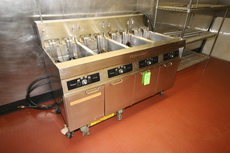 """Frymaster 4-Compartment Frying Station, Mounted on Portable Frame, Overall Dims.: Aprox. 62-1/2"""" L x 30"""" W x 36""""H (NOTE: Missing Frying Baskets) (LOCATED IN KITCHEN AREA)"""