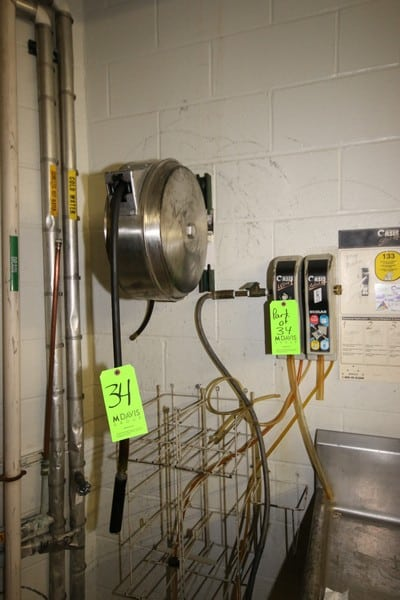 S/S Hose Reel with Hose, with (2) Oasis Ecolab Sanitation Stations (LOCATED IN KITCHEN AREA)