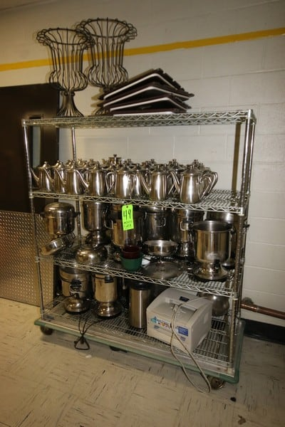 Portable S/S Wire Shelving, with (28) S/S Tea Pots, (11) S/S Serving Containers, with Some Dishes & Boxes (LOCATED IN KITCHEN AREA)