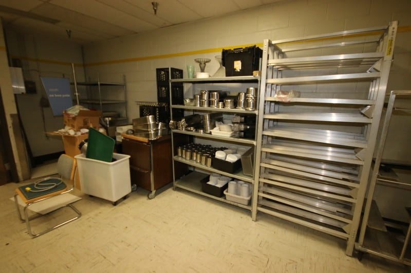 Lot of Assorted Shelving, Silverware Holders, S/S Inserts, Plates, Cappuccino Machine, S/S Racking, & Other Present Contents--See Photographs (LOCATED IN KITCHEN AREA)