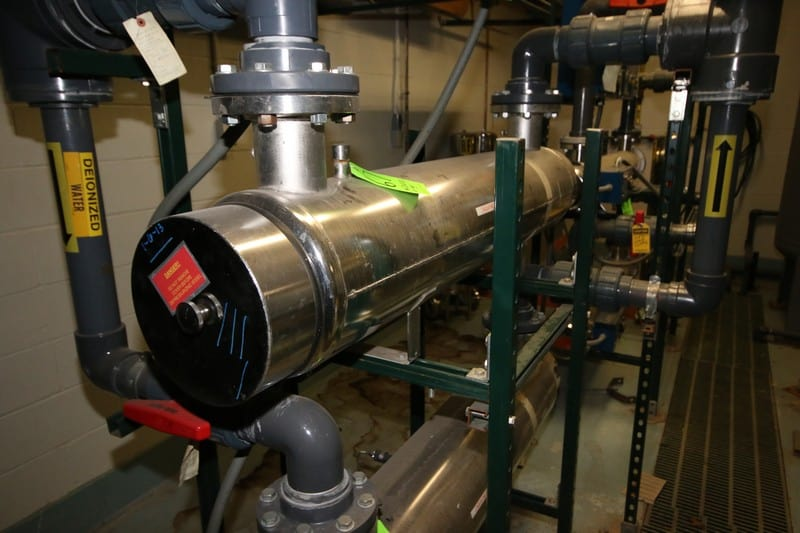 """Ultraviolet S/S Purification UF Tube, M/N EP-10L, S/N 10314, 115 Volts, 200 GPM, 150 PSI, with Control Panel, Tube Dims.: Aprox. 64"""" L x 11"""" Dia. (LOCATED IN DEIONIZED WATER SYSTEM ROOM)"""
