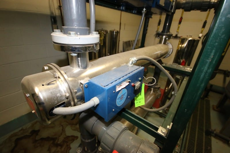 """Ultra Dynamics Corp. S/S UF Tube, M/N 8000BF, S/N 80056W, 120 Volts, Part No.: 7011-708, with Control Panel, Tube Dims.: Aprox. 69"""" L x 7-1/2"""" Dia. (LOCATED IN DEIONIZED WATER SYSTEM ROOM)"""