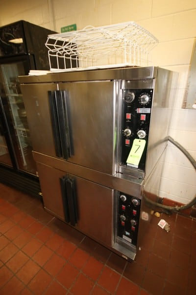 Vulcan Dual S/S Ovens, M/N V077FD, S/N's 7351983 & 7351984, 208 Volts, 3 Phase, with Double S/S Doors (LOCATED IN KITCHEN AREA)