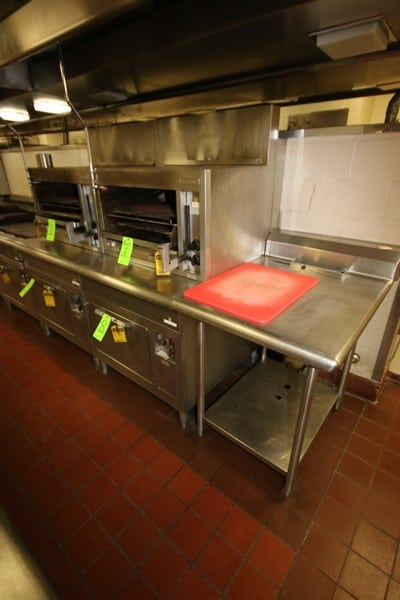 """General Electric S/S Oven, M/N CN40, S/N SCF5697, with Top Mounted General Electric S/S Grill, M/N CB40, S/N PCH7069, 220/240 Volts, with S/S Side Table & Cutting Board, S/S Table Dims.: Aprox. 42-1/2"""" L x 29-1/2"""" W x 36""""H (LOCATED IN KITCHEN AREA)"""