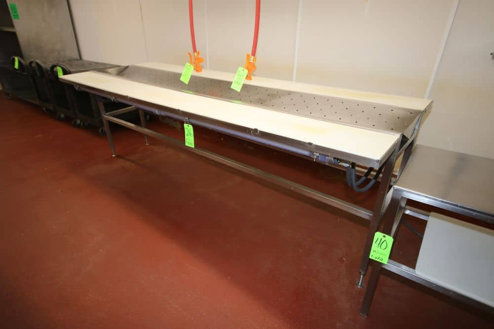 """S/S Spray Down Station, with (2) Aprox. 120"""" L x 20"""" W Cutting Areas, with Cutting Board Style Table Tops, with Middle S/S V-Type Draining Area, with (2) Spray Hoses & Nozzels, Overall Dims.: Aprox. 120"""" L x 44"""" W x 39"""" H (LOCATED IN GLOUCESTER, MA)"""