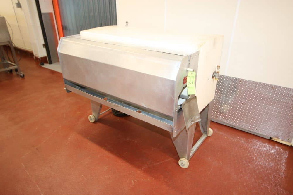 Simor Fish Scaling Machine, M/N F-04, S/N 4-158-76, 220 Volts, 3 Phase, Mounted on S/S Frame & Casters (LOCATED IN GLOUCESTER, MA)