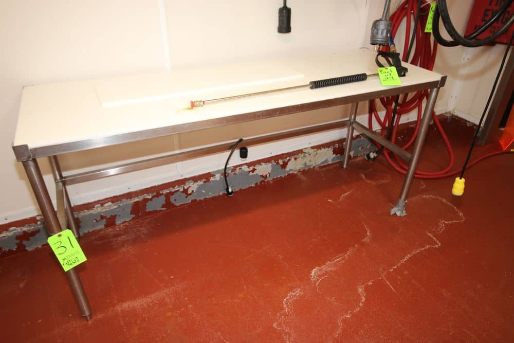 """S/S Cutting Table, with Cutting Board Type Table Top Surface, Overall Dims.: Aprox. 6' L x 24"""" W x 35"""" H (LOCATED IN GLOUCESTER, MA)"""