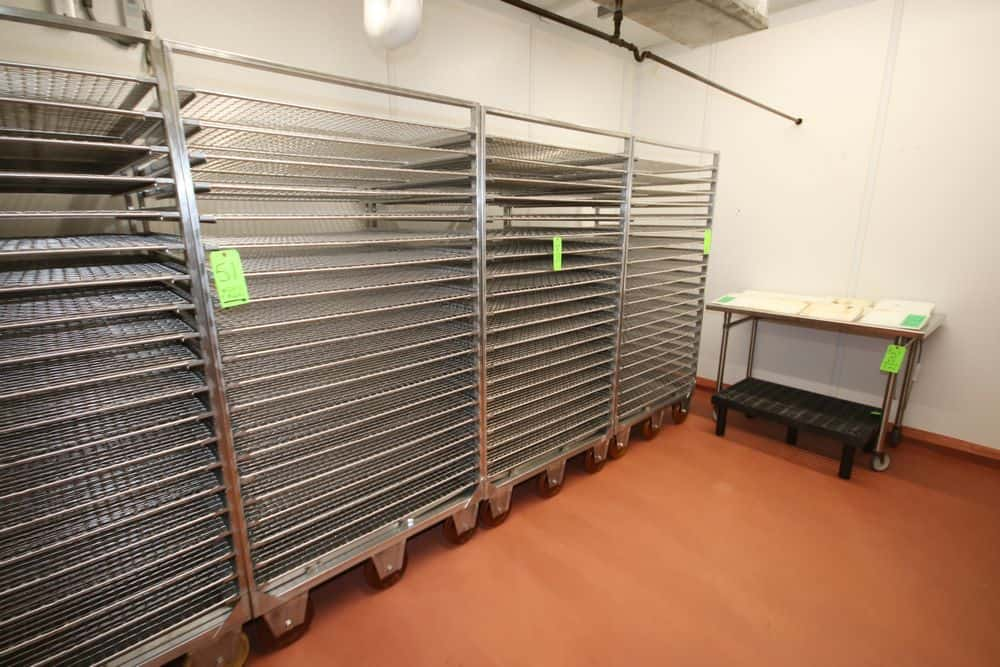 """S/S Wire Shelf Portable Smokehouse Racks, Overall Dims.: Aprox. 40"""" L x 41-1/2"""" W x 78"""" H, with (20) S/S Wire Shelves (LOCATED IN GLOUCESTER, MA)"""