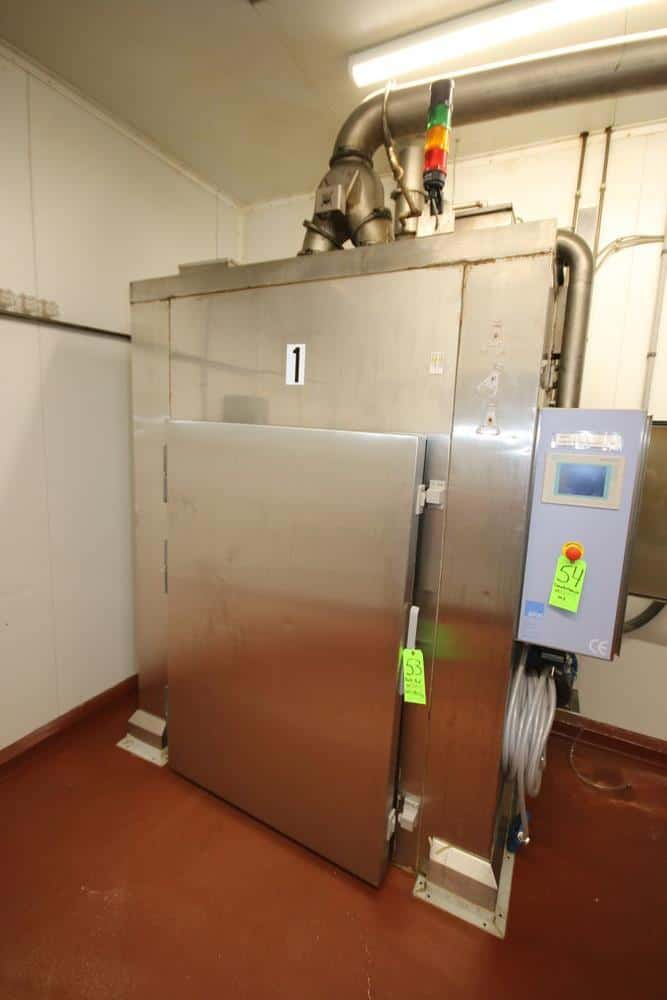"""2013 AFOS S/S Dual Door Smokehouse, AFOS #: K4376, with Side S/S Kiln, M/N AKI-250, S/N K4376, 480 Volts, 3 Phase, with Front & Rear Door, with Siemens Simatic Touchscreen Display with Side Mounted S/S Control Panel, with (1) S/S Wire Shelf Portable Rack, Overall Dims.: Aprox. 46"""" L x 36"""" W x 58"""" H, with (21) S/S Wire Shelves (SMOKEHOUSE #1) (LOCATED IN GLOUCESTER, MA)"""