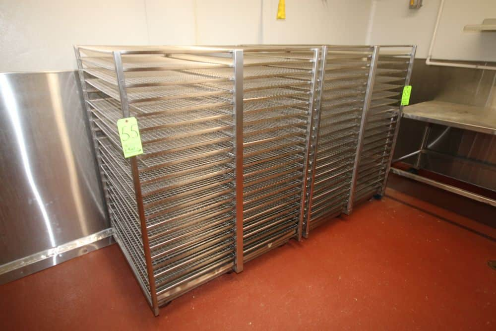 """S/S Wire Shelf Portable Racks, Overall Dims.: Aprox. 46"""" L x 36"""" W x 58"""" H, with (21) S/S Wire Shelves (LOCATED IN GLOUCESTER, MA)"""