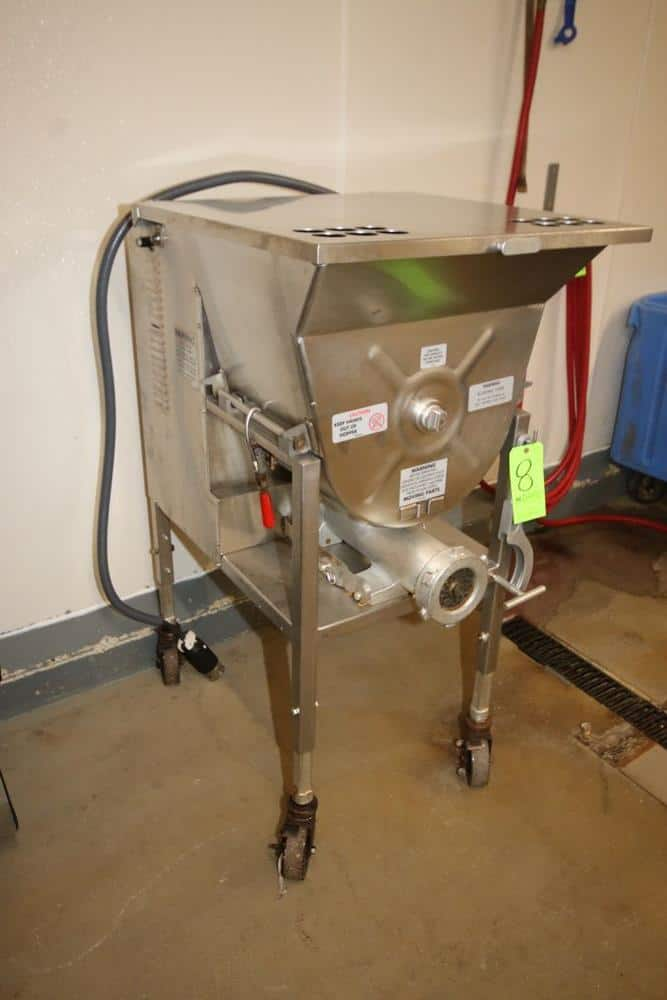 Hollymatic S/S Mixer Grinder, M/N 175, S/N 175-3072, with 7.5 hp Motor, 200 Volts, with S/S Discharge, Mounted on S/S Portable Frame (LOCATED IN GLOUCESTER, MA)