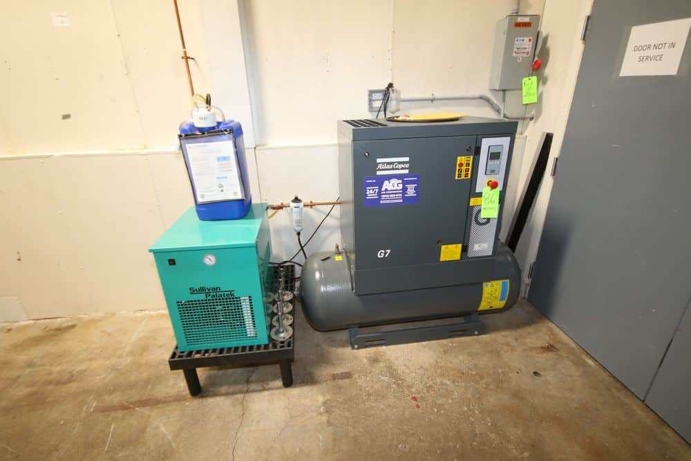 2018 Atlas Copco 20 hp Air Compressor, Type: G7P, S/N ITJ137197, 125 PSI Working Pressure, 230 Volts, 3 Phase with Sullivan Palatek Air Dryer (LOCATED IN GLOUCESTER, MA)